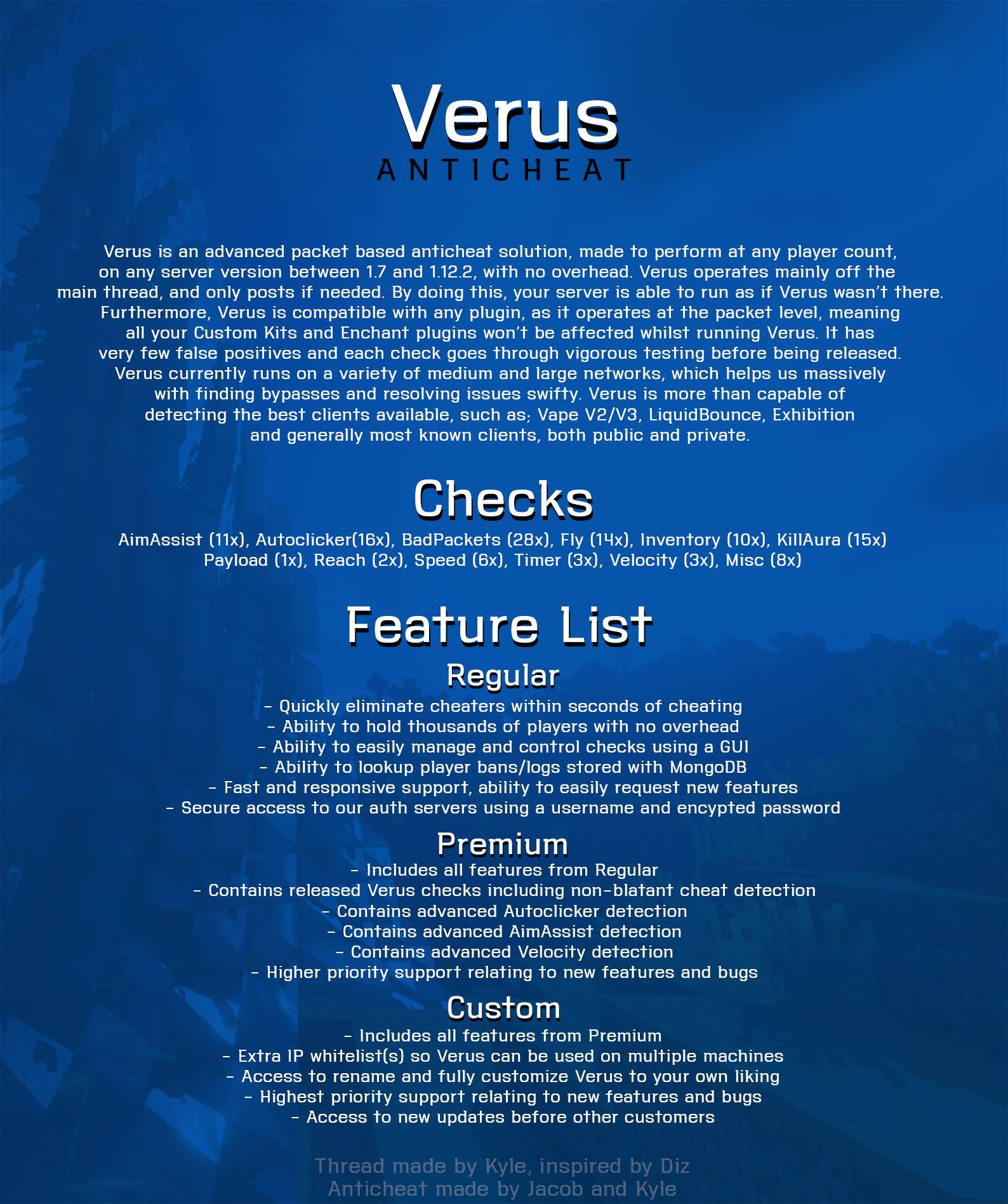 Selling - VERUS ANTICHEAT | NEW UPDATES | discord me/verus | MC-Market