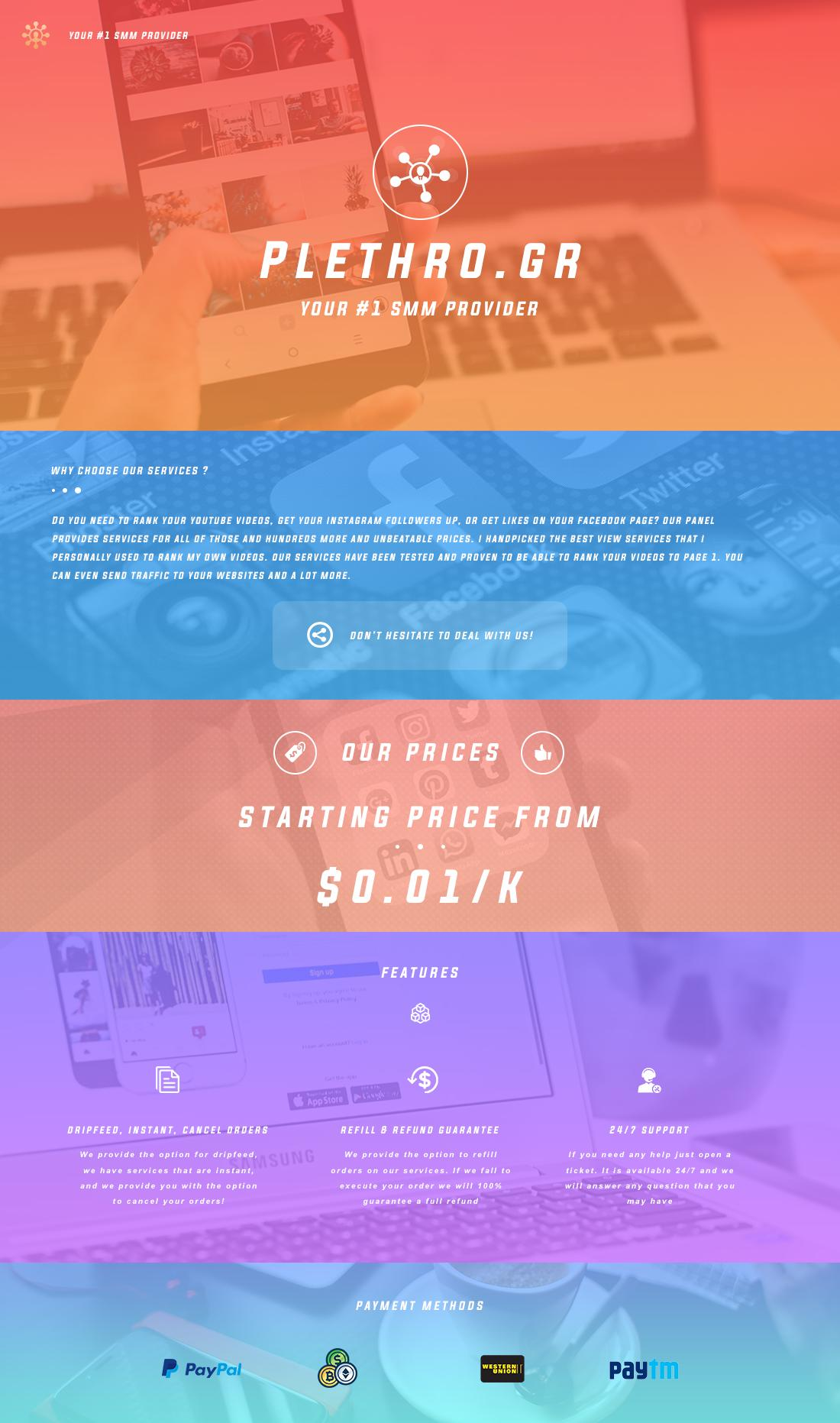 PLETHRO GR | All in One SMM Panel-Prices from $0 02|Instagram