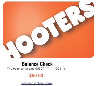 Hooters com giftcards $25 and $50 not carded not se'd | MC